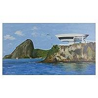 'Niteroi Contemporary Art Museum' - Original Signed Painting of Brazil's Contemporary Art Museum