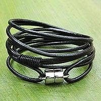 Leather wrap bracelet, 'Spatial Style' - Leather and Steel Intricate Wrap Bracelet from Brazil
