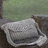 Soda pop-top shoulder bag, 'Chain Mail Elegance' - Recycled Aluminum Pop-Top Shoulder Bag from Brazil