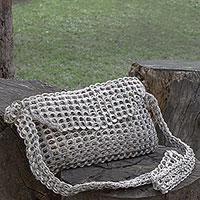 Soda pop-top shoulder bag, 'Chain Mail Elegance' - Recycled Aluminum Pop-Top Shoulder Bag from Brazil