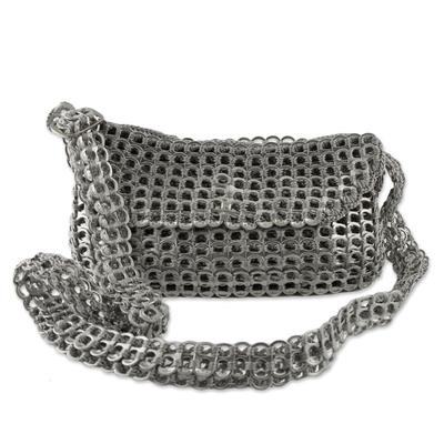 Novica Zipper bag, Golden Treasure - Recycled Aluminum Shoulder Bag