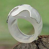Agate domed ring, 'Symbol of Hope in White' - Agate and Sterling Silver Domed Ring in Translucent White