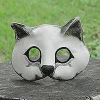 Leather mask, 'Fierce Cat' - Handcrafted Painted Leather Cat Mask from Brazil