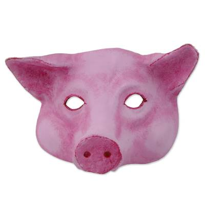 Handcrafted Pink Leather Pig Mask from Brazil