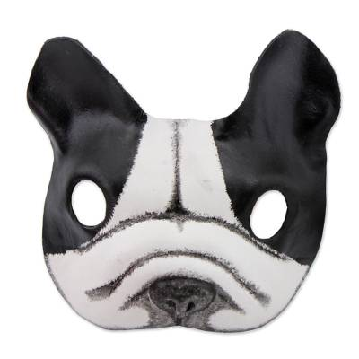 Handcrafted Black and White Bulldog Mask from Brazil