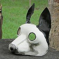 Leather mask, 'Alert Dog' - Handcrafted Black and White Dog Face Mask from Brazil