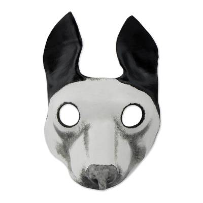 Handcrafted Black and White Dog Mask from Brazil