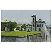 'Encroaching Water in Paraty' - Signed Original Painting of the Santa Rita Chapel in Paraty