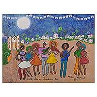 'Jandaia Serenade' - Signed Naif Painting of Musicians from Brazil
