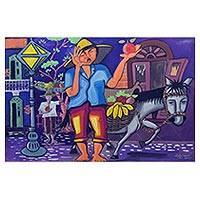 'Street Merchant' - Original Painting of a Brazilian Street Vendor and Horse