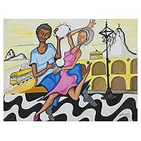'Let's Dance the Samba' - Festive Samba Dance Painting of Rio de Janeiro