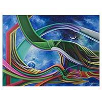 'Temporal Vortex' - Signed Colorful Abstract Painting from Brazil