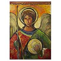 'Byzantine Archangel II' - Expressionist Painting of an Archangel from Brazil