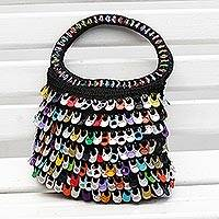 Recycled soda pop-top handbag, 'Multicolor Dramatic Style' - Multicolor Recycled Soda Pop Top Handle Handbag