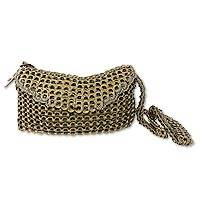 Soda pop-top shoulder bag, 'Golden Creativity' - Recycled Soda Pop Top Shoulder Bag from Brazil
