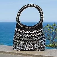 Recycled soda pop-top handle handbag, 'Dramatic Style in Black' - Black and Silver Recycled Pop Top Handle Handbag