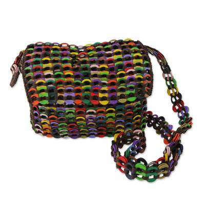 Recycled soda pop-top shoulder bag, 'Joyful Creation in Brown' - Multicolor Recycled Soda Pop Top Shoulder Bag from Brazil