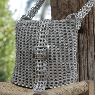 Recycled soda pop-top sling bag, 'Chainmail Strength' - Silver Recycled Soda Pop Top Sling Bag from Brazil (image 2)