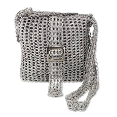 Recycled soda pop-top sling bag, 'Chainmail Strength' - Silver Recycled Soda Pop Top Sling Bag from Brazil
