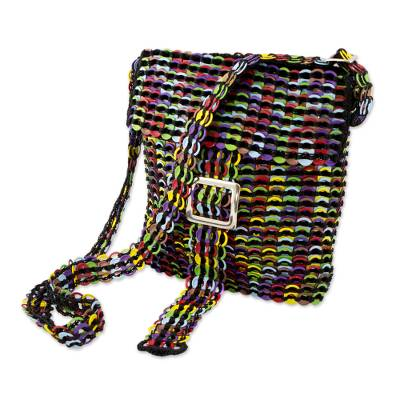 Recycled soda pop-top sling bag, 'Multicolor Chainmail Strength' - Multicolor Recycled Soda Pop Top Sling Bag from Brazil (image 2b)