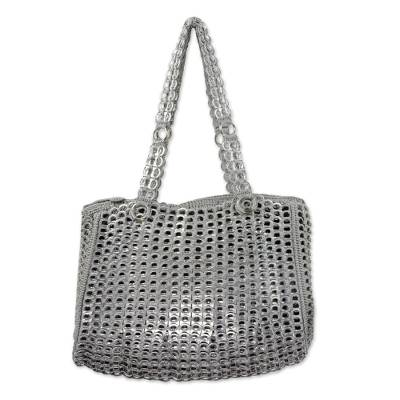 Recycled soda pop-top shoulder bag, 'Modern Spring in Silver' - Silver Recycled Soda Pop Top Shoulder Bag from Brazil