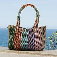 Recycled soda pop-top shoulder bag, 'Rainbow Style'
