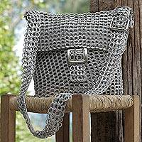 Recycled soda pop-top sling bag, 'Chainmail Beauty' - Silver Recycled Soda Pop Top Sling Bag from Brazil