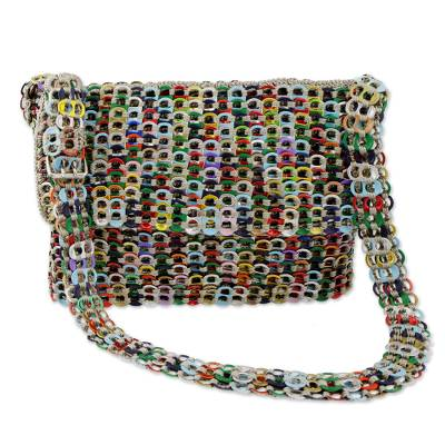 Novica Recycled pop-top shoulder bag, Rainbow Bright