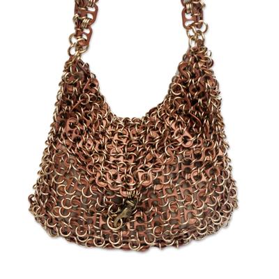 Bronze-Tone Recycled Soda Pop-Top Handbag from Brazil