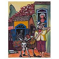 'Fruit Vendor' - Signed Expressionist Painting of a Brazilian Street Scene