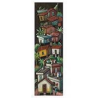 'Corcovado Favela' - Nighttime Favela Scene Painted on Cedar Wood and Signed