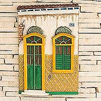 Wood relief panel, 'House of Ouro Preto' - Yellow and Green Relief Panel of a Home in Ouro Preto