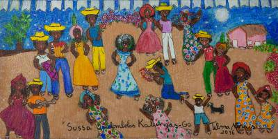 'Sussa Dance of the Village Kalunga' - Signed Naif Painting of a Dance Scene from Brazil