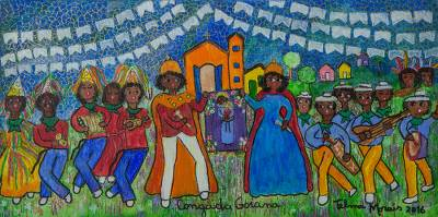 'Goiana Conga' - Signed Naif Painting of a Traditional Dance from Brazil