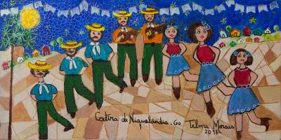 'Niquelândia Catira' - Signed Naif Painting of Traditional Dancers from Brazil