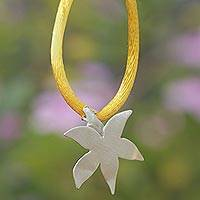 Sterling silver pendant necklace, 'Felicity Flower' - Sterling Silver and Silk Flower Pendant Necklace from Brazil