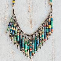 Hematite and recycled paper waterfall necklace, 'Sunny Memories'
