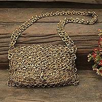 Soda pop-top shoulder bag, 'Shimmery Gold' - Gold-Tone Recycled Soda Pop-Top Shoulder Bag from Brazil