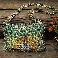 Soda pop-top shoulder bag, 'Shimmery Brazil' - Multicolored Recycled Soda Pop-Top Shoulder Bag from Brazil