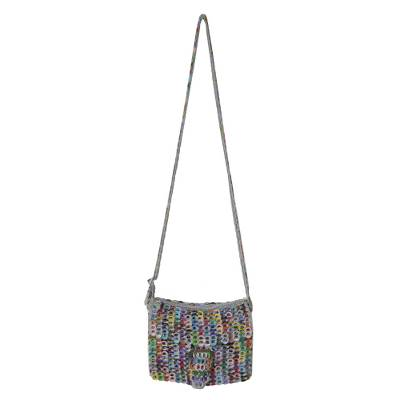 Recycled soda pop-top sling bag, 'Shimmery Colors' - Multicolored Recycled Soda Pop Top Bag from Brazil