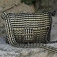 Recycled soda pop-top sling bag, 'Shimmery Stripes' - Recycled Soda Pop-Top Sling Bag with Black Stripes