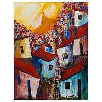'Three Favela Friends in Yellow' - Original Signed Rio de Janeiro Favela Painting from Brazil