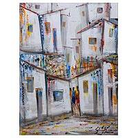 'Favela and its Residents' - Signed Original Painting of a Favela in Rio de Janerio