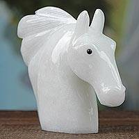 Calcite sculpture, 'Pure Horse' - Handcrafted Calcite Horse Sculpture from Brazil