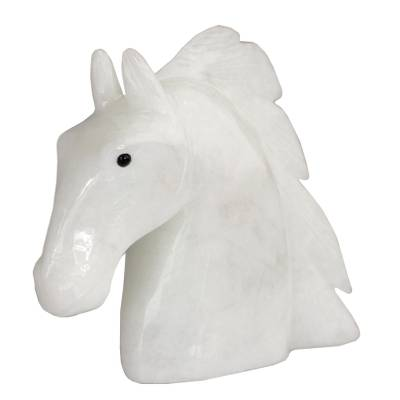 Handcrafted Calcite Horse Sculpture from Brazil