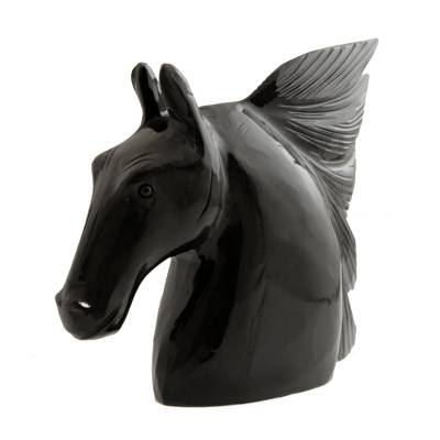Handcrafted Black Dolomite Horse Sculpture from Brazil