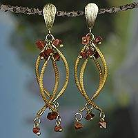 Gold accent sunstone dangle earrings, 'Fruits of Nature' - Gold Accent Golden Grass and Sunstone Earrings from Brazil