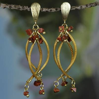 Gold accent sunstone dangle earrings, Fruits of Nature