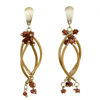 Gold Accent Golden Grass and Sunstone Earrings from Brazil