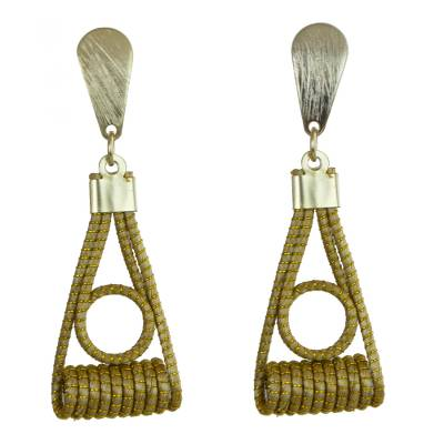 Gold Plated Golden Grass and Brass Dangle Earrings